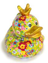 """Ente """"Ducky"""" grün mit Blumen"""