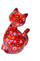 "Katze ""Caramel"" rot mit Blumen"