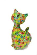 """Katze """"Caramel"""" XL grün mit Blumen"""