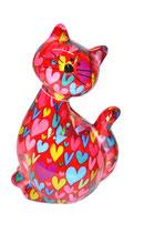 """Katze """"Caramel"""" rot mit Herzen"""