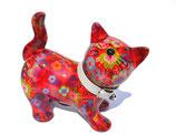 """Katze """"Kitty"""" rot mit Blumen"""