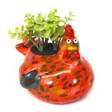 Huhn rot mit Blättern