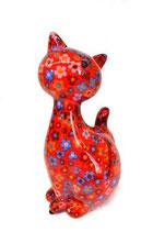"Katze ""Caramel"" XL rot mit Blumen"