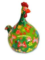 """Huhn """"Marie"""" grün mit Schmetterlingen"""