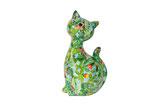 """Katze """"Caramel"""" XL grün mit Kakteen"""