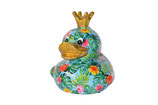 "Ente ""Ducky"" türkis - Hibiskusblüten"