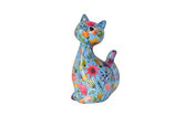 "Katze ""Caramel"" blau mit Blumen"