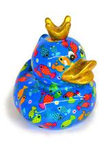 """Ente """"Ducky"""" blau mit Fischen"""