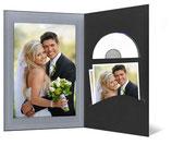 CD/DVD & Foto presentatiemap zwart met zilver met lijn