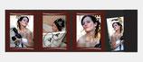 4- Delige Portretmap met vakje  voor  13x18 cm. Zwart met Bordeaux
