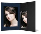 Portretmap met vakje 20 x 30 cm. zwart en blauw geribbeld