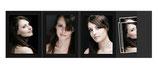 4- Delige Portretmap met vakje  voor  13x18 cm. Zwart zonder rand