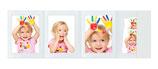 4- Delige Portretmap met vakje  voor  13x18 cm. wit glanzend zonder rand