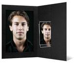 Ateliermap met vak voor 10 x 15 cm. zwart met zwart geribbeld passepartout
