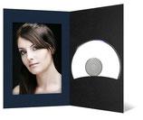 CD/DVD & Foto presentatiemap Zwart met blauw geribbeld passepartout