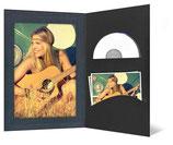 CD/DVD & Foto presentatiemap zwart met satijn antraciet met lijn