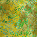 Grüne Blätter auf grüngelb, Batik, Anthology Fabrics, 01192550817