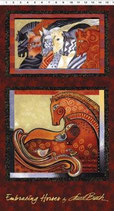 Embracing Horses, Brick Metallic, Laurel Burch (große Motive) 11214050814