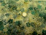 Grüne Blätter auf olivgrünem Untergrund, Batik, Hoffman Fabrics, 05315550212