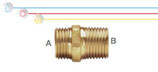 Nipplo M/M in ottone con filettatura maschio ISO 228 G B (con battuta piana).