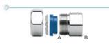Raccordi per collegamento tra tubi CSST ed attacchi maschio.