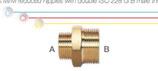 Nipplo ridotti M/M in ottone con doppia filettatura maschio ISO 228 G B (con battuta piana).
