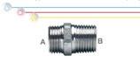 Nipplo M/M in ottone nichelato con filettatura maschio ISO 228 G B (con battuta piana) e filettatura maschio conica EN 10226 R (ISO 7 R).