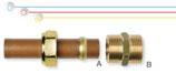 Raccordi per collegamento tra tubi CSST flangiati e tubi / terminali in rame.