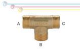 Tee M/M/M in ottone con filettature maschio ISO 228 G B (con battuta piana).
