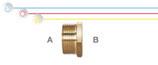 Nippli ridotti M/F in ottone con filettatura maschio ISO 228 G B (con battuta piana) e filettatura femmina EN 10226 Rp (ISO 7 Rp).