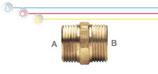 Nipplo M/M in ottone con doppia filettatura maschio ISO 228 G B (con battuta piana).