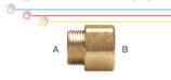 Nipplo M/F in ottone con filettatura maschio ISO 228 G B (con battuta piana) e  filettatura femmina EN 10226 Rp.