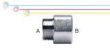 Nipplo M/F in ottone nichelato con filettatura maschio ISO 228 G B (con battuta piana) e  filettatura femmina EN 10226 Rp (ISO 7 Rp).