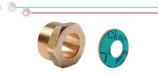 Viti semplici ridotte in ottone con filettatura maschio ISO 228 G B (con battuta piana) completi di guarnizioni a base di fibre arammidiche.