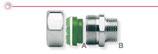 Raccordi a innesto rapido per collegamento tra tubi CSST e terminali filettati femmina.