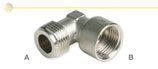 Gomiti M/F in ottone nichelato, a 90°, con filettatura maschio ISO 228 G B (con battuta piana) e filettatura femmina ISO 228 G per collegamento con cucine a gas.