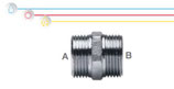 Nipplo M/M in ottone nichelato con doppia filettatura maschio ISO 228 G B (con battuta piana).