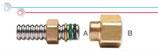 Raccordo ridotto per collegamento tra tubi CSST e terminali filettati maschio.