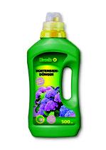 Hack Hortensien- und Rhododendrondünger NPK 7-4-5 + Spurennährstoffe in der 500ml Flasche
