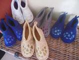 chaussons feutrés et brodés