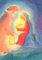 """Kinderpostkarte """"Maria und Joseph bei der Krippe"""""""