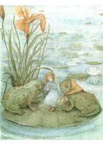 """Postkarte """"Däumelinchen mit Frösche"""""""