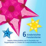 Kinderleichte Fenstersterne / Magenta, Tiefblau, Hellgelb