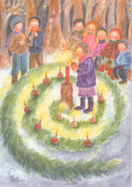 """Kinderpostkarte """"Adventsgärtlein im Wald"""""""