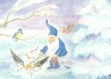"Kinderpostkarte ""Zwerg füttert die Vögel"""