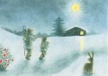 "Kinderpostkarte ""Auf dem Weg zum Stall"""