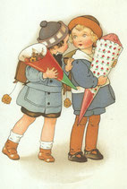 """Doppelkarte """"Zwei Mädchen mit Schultüte"""""""