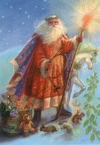 """Kinderpostkarte """"Weihnachtsmann & Einhorn"""""""