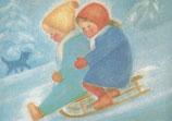 """Kinderpostkarte """"Schlittenfahrt Ruth und Hans"""""""