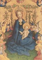 """Postkarte  """"Die Muttergottes in der Rosenlaube"""""""